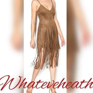 Dresses & Skirts - Faux Suede Fringe Midi Dress Spaghetti Straps